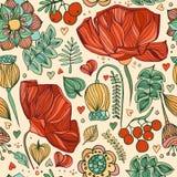 Mano que dibuja el fondo inconsútil floral stock de ilustración