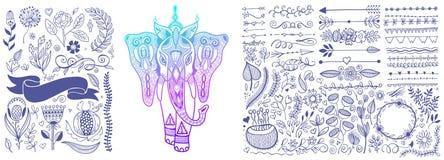 Mano que dibuja el sistema de elementos del diseño floral y el bosquejo del elefante indio ilustración del vector