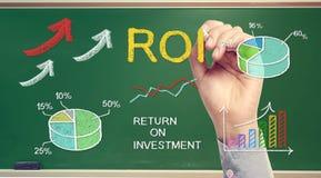 Mano que dibuja ROI (rentabilidad de la inversión) Imagen de archivo libre de regalías
