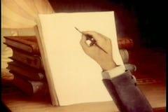 Mano que dibuja una avestruz que sostiene un violín stock de ilustración