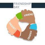 Mano que liga la bandera del día de la amistad de los mejores amigos para siempre stock de ilustración