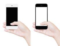 Mano que lleva a cabo blanco aislado de la trayectoria de recortes del teléfono Fotos de archivo