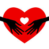 Mano que lleva a cabo el icono del corazón, Fotografía de archivo libre de regalías