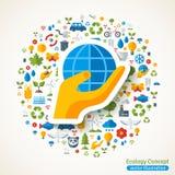 Mano que lleva a cabo iconos del símbolo y de la ecología del globo ilustración del vector