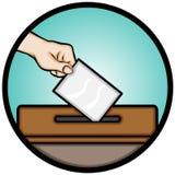 Mano que lleva a cabo la votación (elección general) Imágenes de archivo libres de regalías