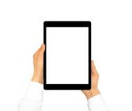 Mano que lleva a cabo mofa en blanco de la tableta para arriba aislada Nuevo scre portátil de la PC Foto de archivo libre de regalías