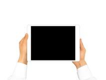 Mano que lleva a cabo mofa en blanco de la tableta para arriba aislada Nuevo scre portátil de la PC Fotografía de archivo libre de regalías