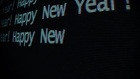 Mano que mecanografía las palabras de la Feliz Año Nuevo que escriben en el viejo cierre llevado blanco de la pantalla de la pant libre illustration