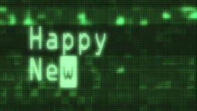 Mano que mecanografía las palabras de la Feliz Año Nuevo que escriben en viejo cierre llevado de la pantalla de la pantalla de or libre illustration