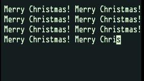 Mano que mecanografía las palabras de la Feliz Navidad que escriben en el viejo cierre llevado blanco de la pantalla de la pantal ilustración del vector