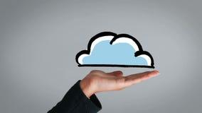 Mano que muestra la nube pintada que aparece almacen de video