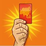 Mano que muestra una tarjeta con Asia ilustración del vector