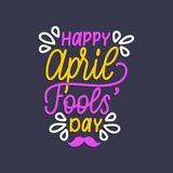 Mano que pone letras al día de April Fools Ilustración del vector Fondo del día de fiesta para la tarjeta de felicitación, el car Foto de archivo