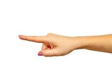Mano que señala con el dedo índice Imagen de archivo