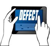 Mano que señala en el texto del DEFECTO en la tableta Ilustración stock de ilustración