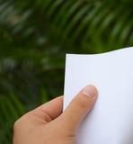 Mano que sostiene el Libro Blanco con el fondo de la naturaleza Imagen de archivo