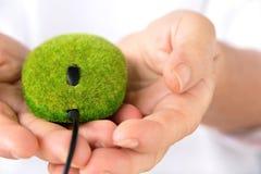 Mano que sostiene el ratón verde Fotos de archivo libres de regalías
