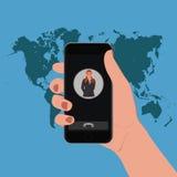 Mano que sostiene el teléfono elegante, ejemplo del vector Foto de archivo