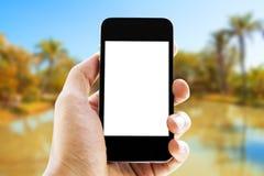 Mano que sostiene el teléfono en fondo de la playa Imagen de archivo