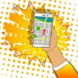 Mano que sostiene el teléfono móvil blanco con el mapa stock de ilustración