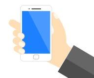 Mano que sostiene el teléfono móvil - vector Fotografía de archivo libre de regalías