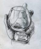 Mano que sostiene el vidrio - bosquejo Fotografía de archivo libre de regalías