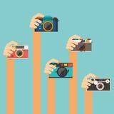 Mano que sostiene la cámara del vintage Fotos de archivo