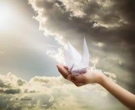 Mano que sostiene la papiroflexia de papel del pájaro bajo rayo de sol Imagen de archivo