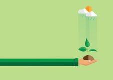 Mano que sostiene la planta verde en estilo plano ilustración del vector