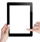 Mano que sostiene la tableta de Digitaces Imagenes de archivo