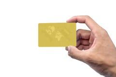 Mano que sostiene la tarjeta con el espacio vacío Fotos de archivo libres de regalías