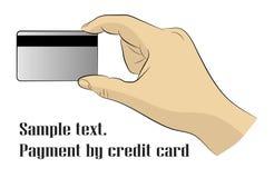 Mano que sostiene la tarjeta del plástico del crédito Pagos Cashless Estilo plano stock de ilustración