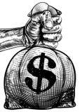 Mano que sostiene un bolso del dinero del saco de la arpillera de la muestra de dólar stock de ilustración