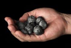Mano que sostiene un manojo de carbón Imagen de archivo
