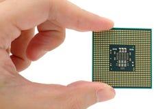 Mano que sostiene una CPU imágenes de archivo libres de regalías