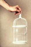 Mano que sostiene una jaula vacía Ausencia de ideas y de sueños Libertad y esperanza Foto de archivo