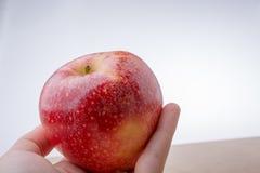 Mano que sostiene una manzana roja en la madera Imagen de archivo libre de regalías
