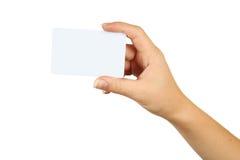 Mano que sostiene una tarjeta de visita fotografía de archivo