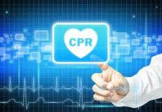 Mano que toca la muestra del CPR en la pantalla virtual Fotografía de archivo