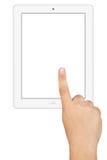 Mano que trabaja la PC blanca de la tableta de la pantalla en blanco Imagen de archivo