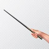 Mano realista con la vara mágica Imagen de archivo