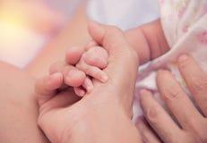 Mano recién nacida del bebé en palma de la mamá Fotos de archivo libres de regalías