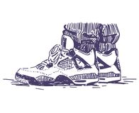 Mano retra de las zapatillas de deporte del deporte dibujada imagen de archivo