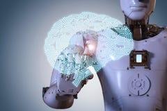 Mano robótica con el cerebro del ai Fotografía de archivo libre de regalías