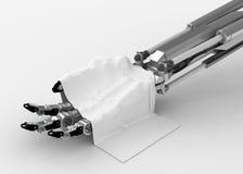 Mano robótica, paño blanco Foto de archivo