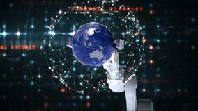 Mano robótica que presenta el globo contra fondo del código binario libre illustration