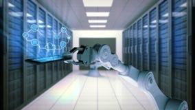 Mano robótica que presenta el teléfono móvil con los iconos computacionales de la nube contra fondo del sitio del servidor stock de ilustración
