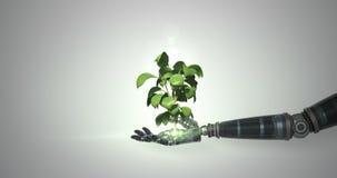 Mano robótica que presenta la planta verde digital que crece contra el fondo blanco ilustración del vector