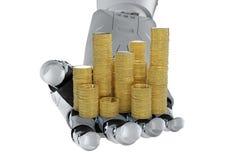 Mano robótica que sostiene monedas de oro ilustración del vector