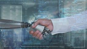 Mano robótica y mano humana almacen de video